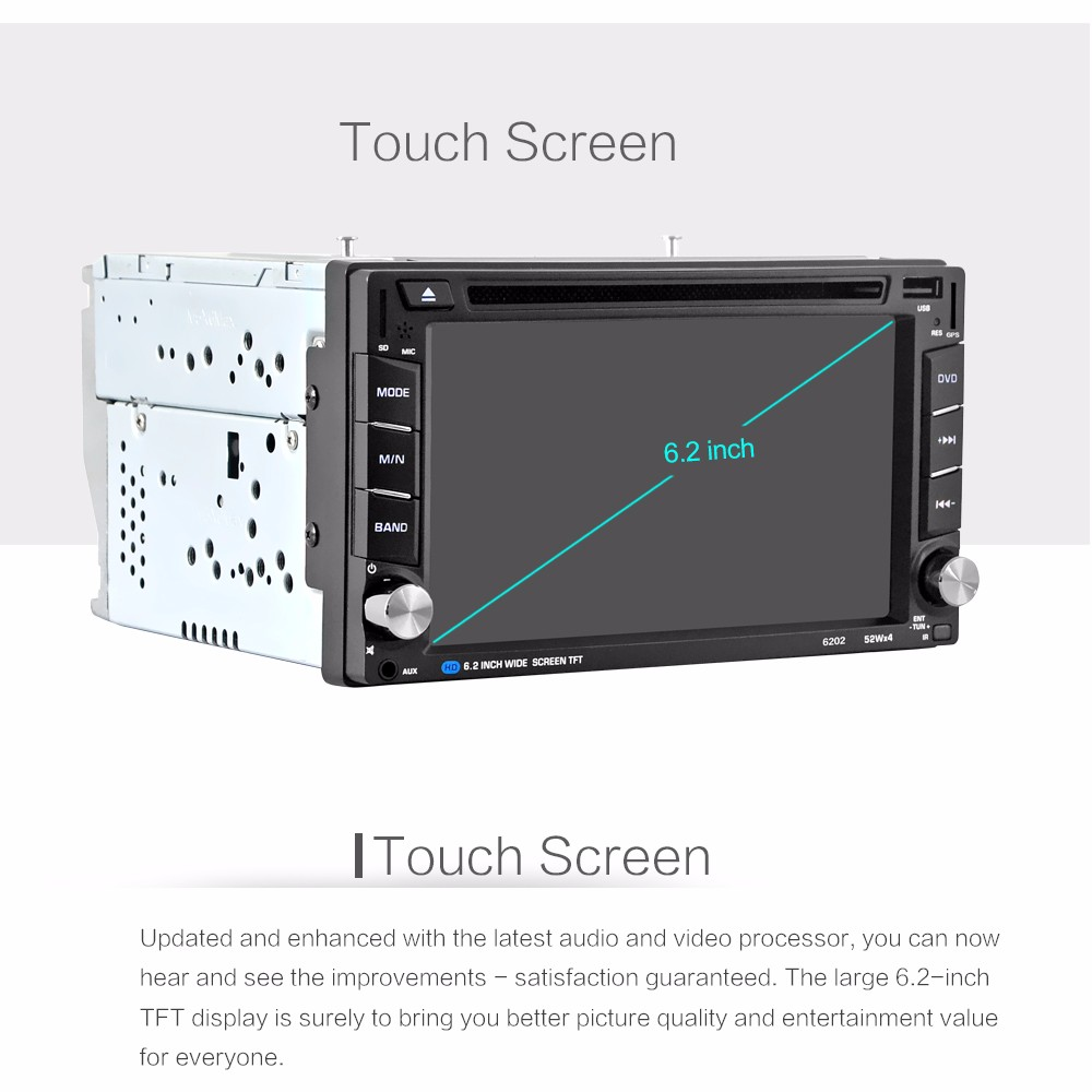 6.2 inch 2 Din Universal Car Radio In Dash Bluetooth Stereo Video Car Stereo Car Multi Media