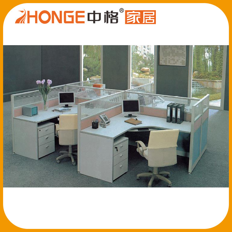 Commercial Furniture Office Cubical Corner Workstation For 4 Person