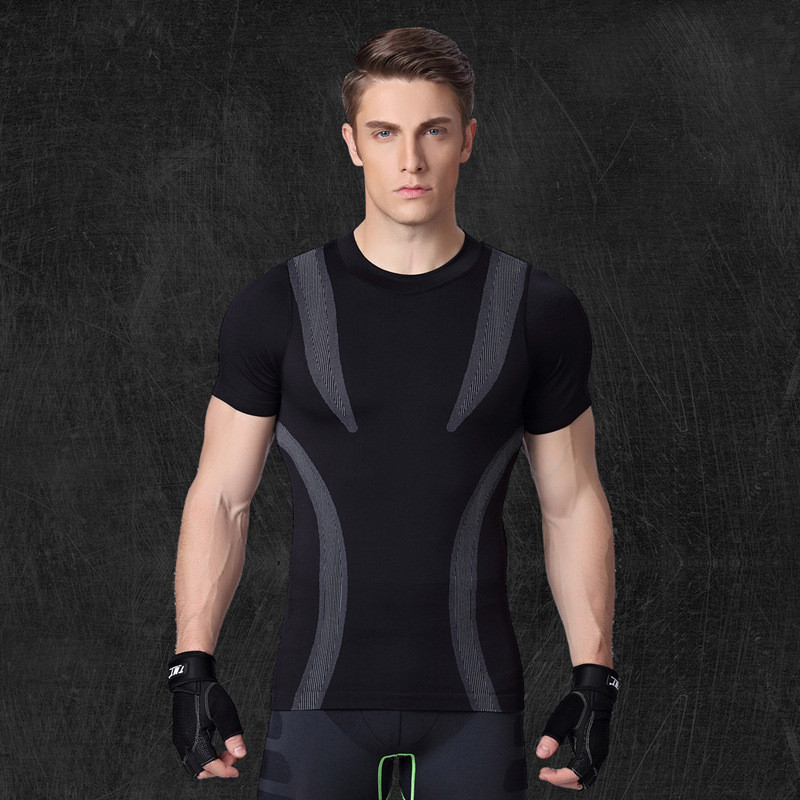 Customized Logo Men's Dry Fit Workout Running Compression Muscle T-shirt 5
