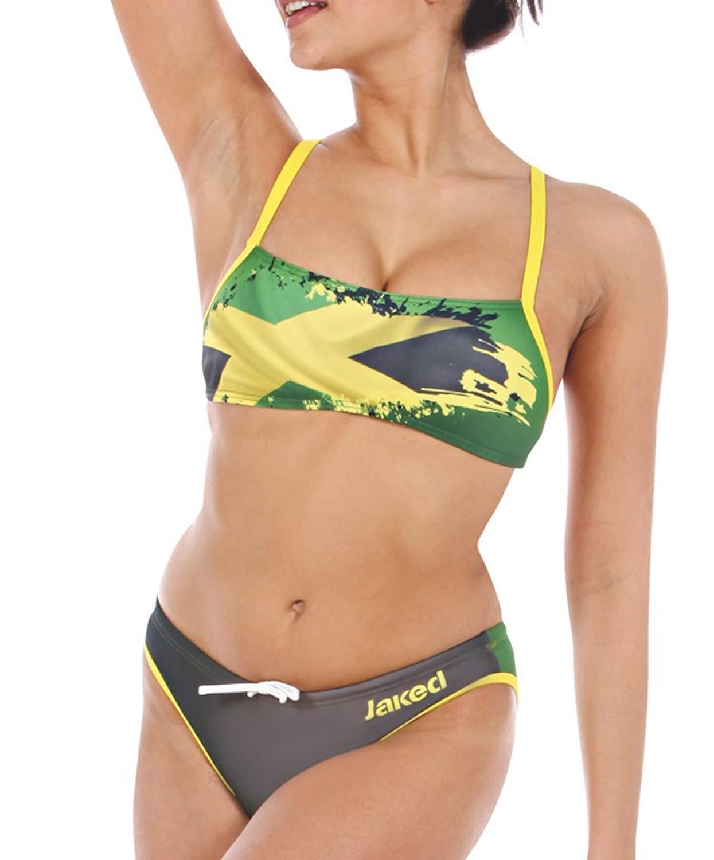 1e05b06a0f9 Get Quotations · Jaked Women s BIKINI FLAGS JAMAICA