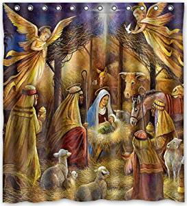 66x72 Inches Christmas Nativity Holy Family Tree Three Wisemen Shower Curtain New Waterproof Polyester Fabric Bath Rings