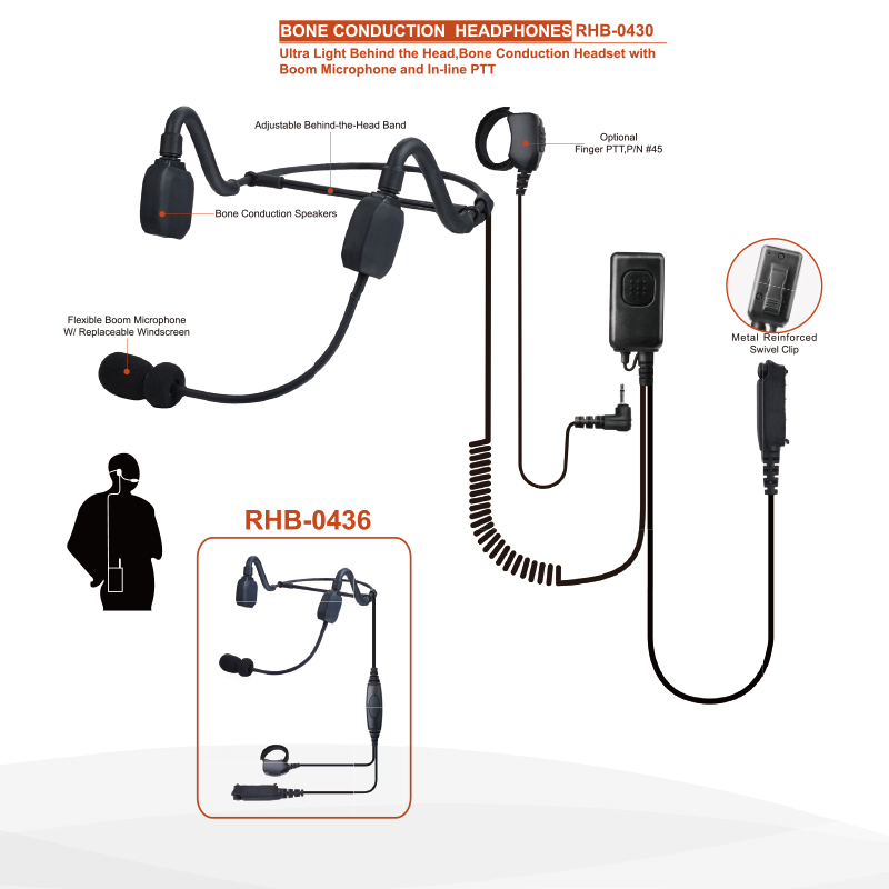 Behind the Head Bone Conduction  Headset with Microphone PTT for Motorola Radios