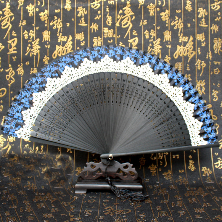 Chinese Lace Silk Folding Hand Held Party Wedding Dance Fan