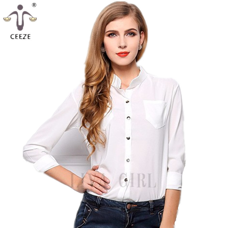 3a24fc905 Get Quotations · Women chiffon Blouses new 2015 Sunscreen render unlined  upper garment to loose collar long-sleeved