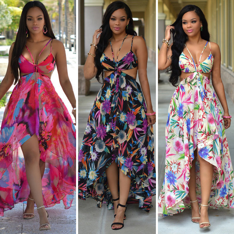 c32e0270671 Women Sexy Summer Off Shoulder Vintage Boho Long Maxi Evening Party Beach  Dress Floral Print Backless