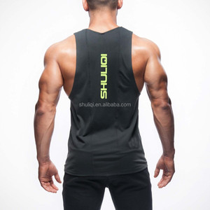 mens polyester spandex fitted t shirts gym athletic tank top
