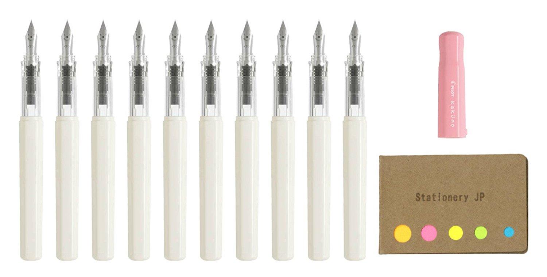 Pilot Kakuno Fountain Pen, Extra Fine Nib, Soft Pink Body, 10-pack, Sticky Notes Value Set