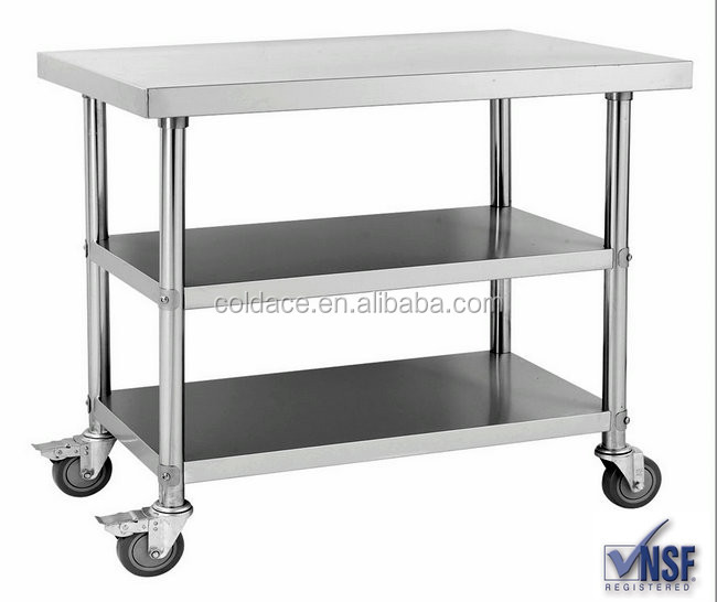Cocina usado 3 capas mesa de trabajo de acero inoxidable - Mesa de trabajo cocina ...