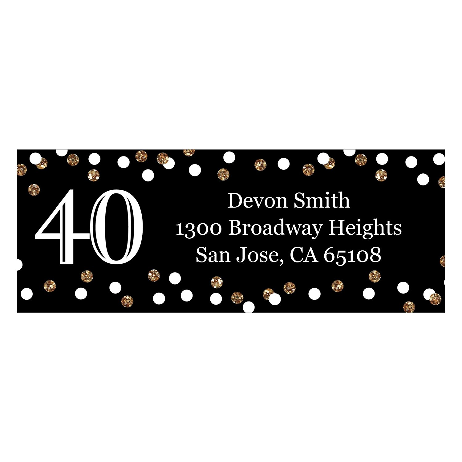 Custom Adult 40th Birthday - Gold - Personalized Birthday Party Address Labels - Set of 30