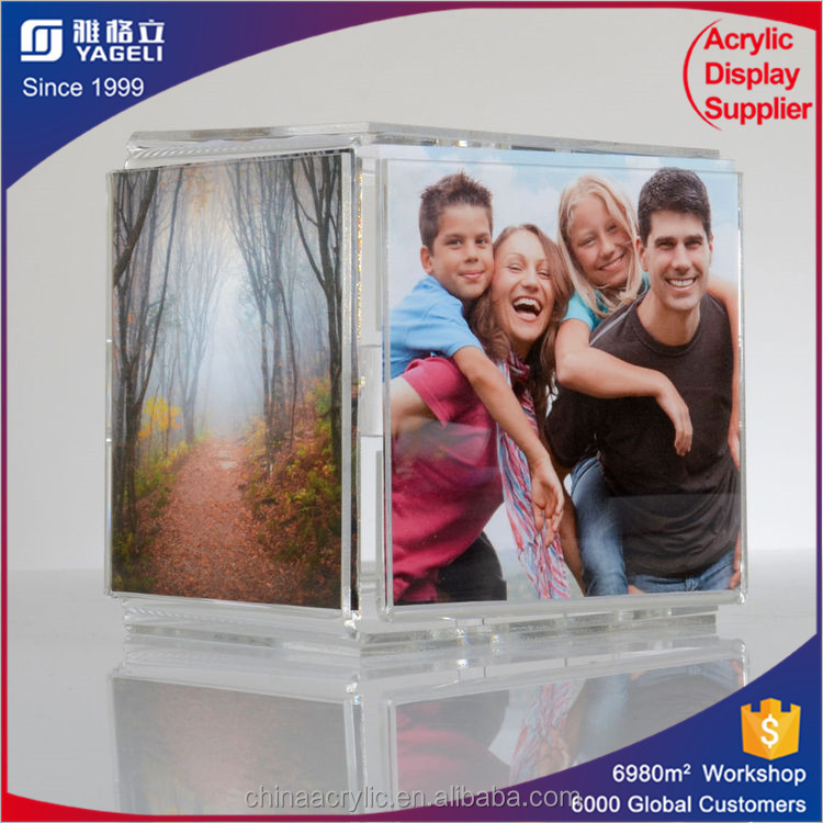 Custom clear large acrylic cube photo frame, acrylic pictures frame wholesale