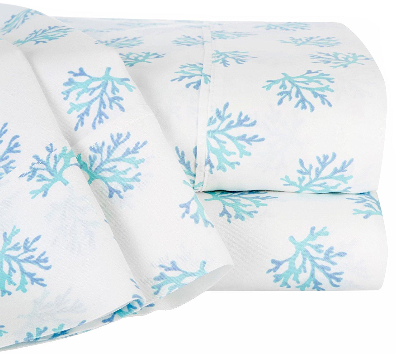 Raymond Waites Coral Print Sheet Set Queen White/soft Blue