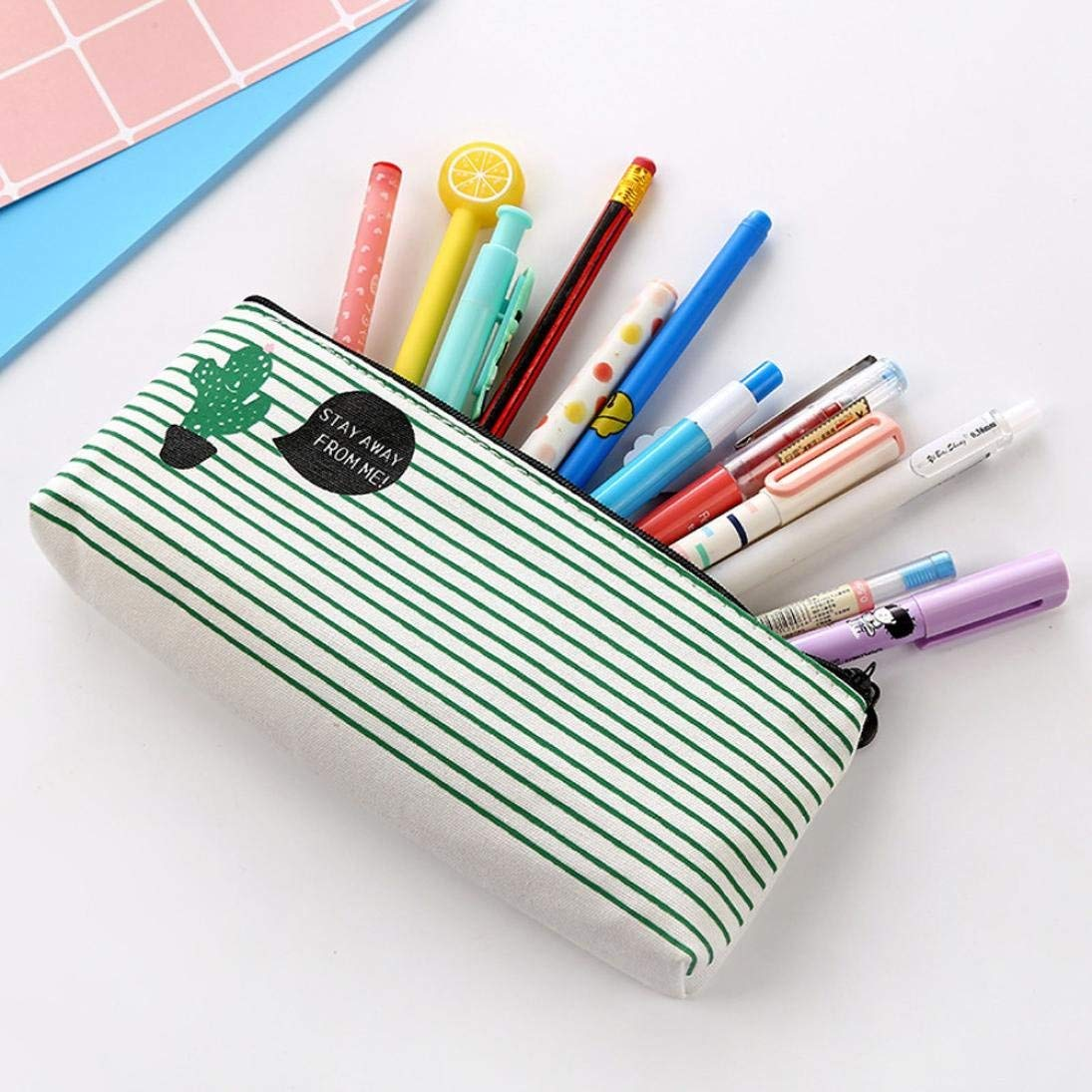 Rumas Cactus Print Canvas Pencil Case for Students, Smooth Zipper Closure Pen Pouch Staionery Tool (A)