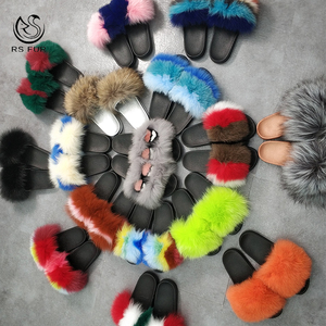 Mixed Colors Fashionable Sandals Fur Slides Custom Logo Fox Fur Furry Slippers for women