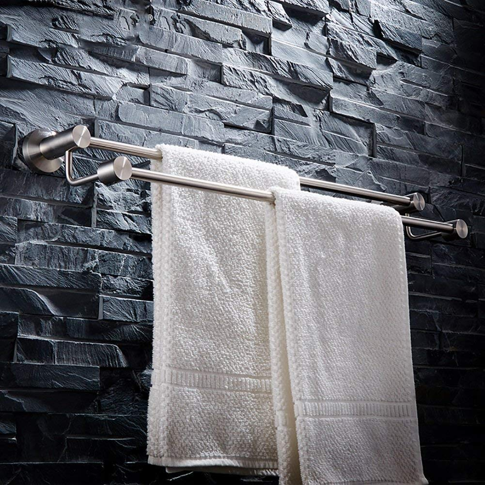 EQEQ Bath Rooms Shelf Towel Holder/304 Stainless Steel Wire Subscription/Toilet/Bath Rooms Double Towel Rack Bath Rooms/Trailer (Size: 100.5 cm).