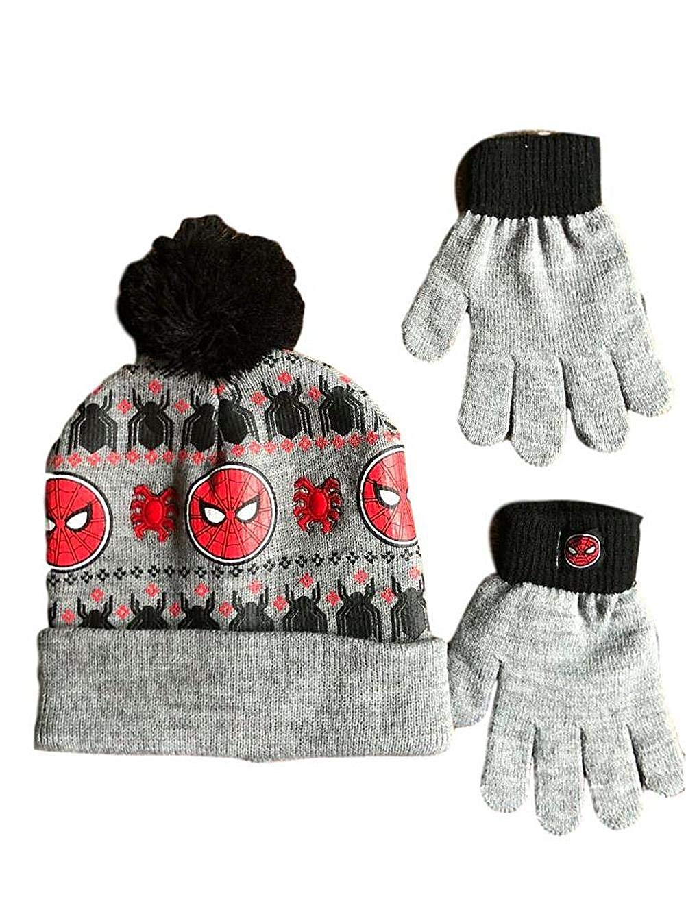 695a9f00f11 Get Quotations · BerkFashion Spiderman Hat for Boys Gloves Winter Cold  Weather Beanie Cap