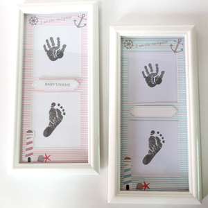 Marine style Color cartoon baby double hole first year baby photo frame handprint kit