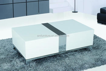 E 1 Mdf High Gloss White Table Top And Stainless Steel Legs Extending  Coffee Tables