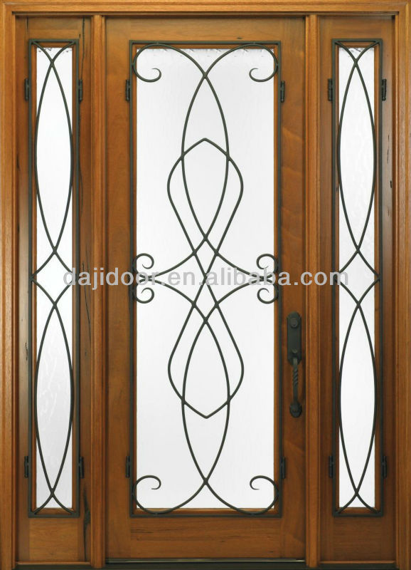 China Wrought Iron Gate Design Wooden Main Door Design Solid Wooden ...