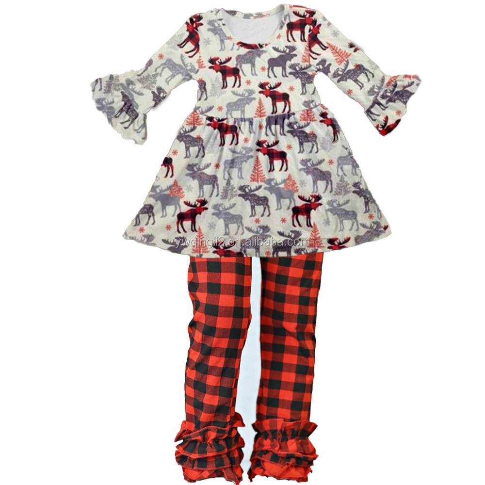 CZ-058 christmas girl frock designs free deer red plaid for little girls ruffle outfits