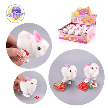 supermarket wind up animals wholesale white fur move small rabbit plush toys with candy