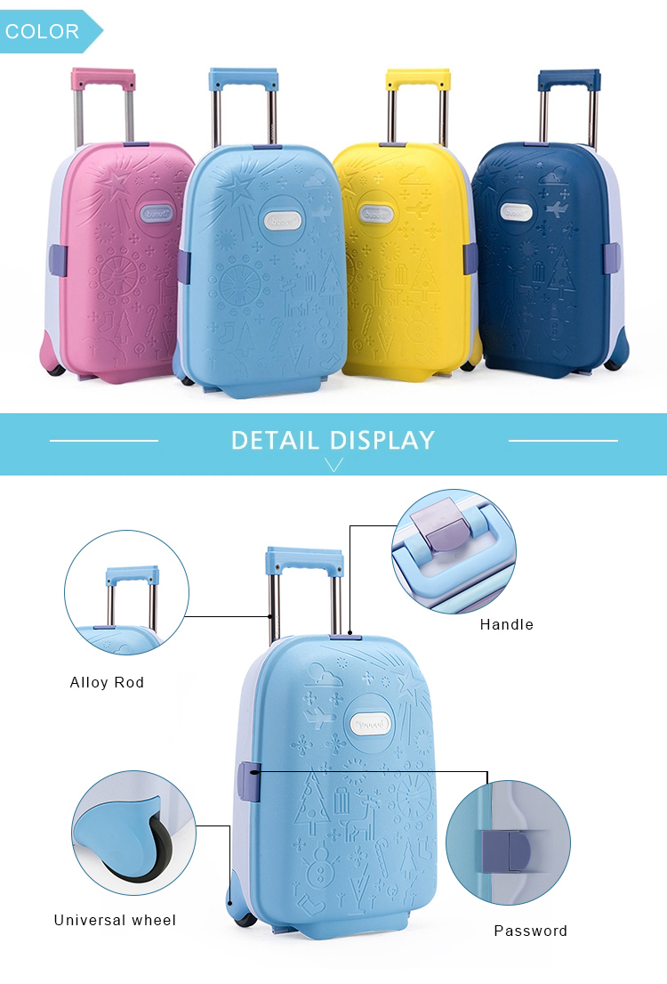 BUBULE Custom PP 17 Inch Carry On Rolling Travel Trolley Bag Luggage For Kids