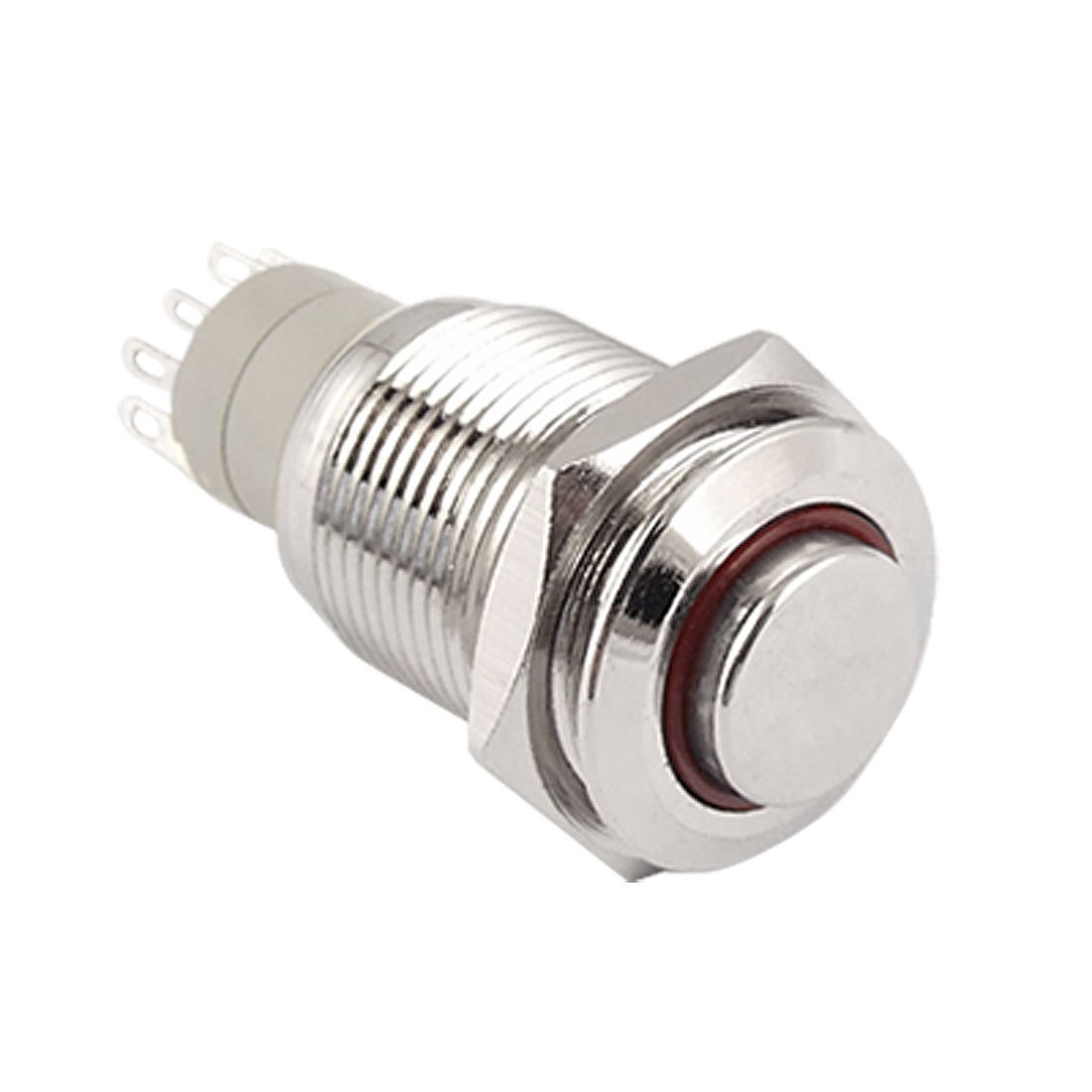 Baomain Push Button Switch Angel Eye RED 12V stainless Steel Switch Latching 5 pin