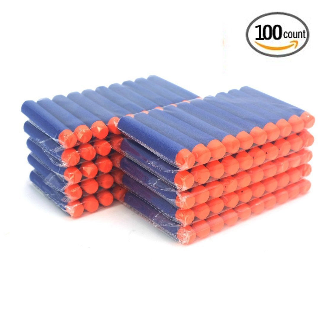 100-Dart Refill Pack Outdoor Toy Gun Bullet Darts Round Head Foam Darts for Nerf N-strike Elite Series (Blue)