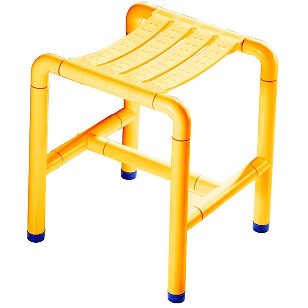Li Wei Shop Shower chair bathroom stool shower seat disabled toilet safe and stable shower stool stainless steel high load-bearing reinforced non-slip shower seat (Color : Yellow, Size : 343243cm)