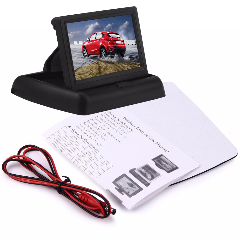 Podofo 4.3 इंच TFT एलसीडी कार की निगरानी Foldable कार रियरव्यू मॉनिटर प्रदर्शन के लिए रिवर्स कैमरा पार्किंग प्रणाली पर नज़र रखता है NTSC पाल