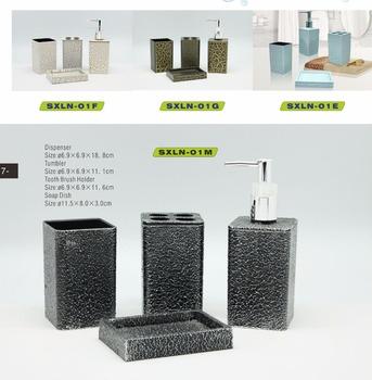 4 Pcs Bathroom Set With Soap Dish Toothbrush Holder Black Diamond