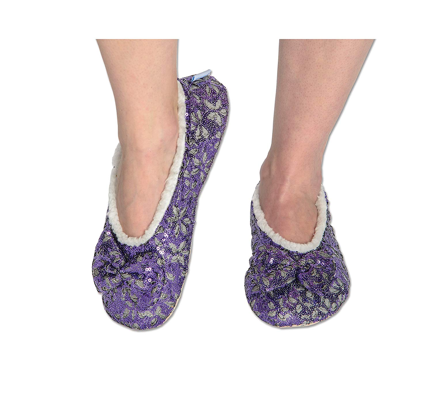 3a8bb5eed92 Snoozies Womens Indoor Outdoor Sole Constrast Stitching Suede Moccasins  Slippers · snoozies! Womens Sequin Glam Slippers with Split Comfort Fit Indoor  Sole