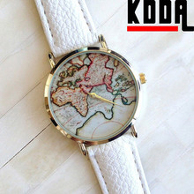 2015 New Alibaba Vintage World Map Dial Unisex Alloy Leather Quartz Watch