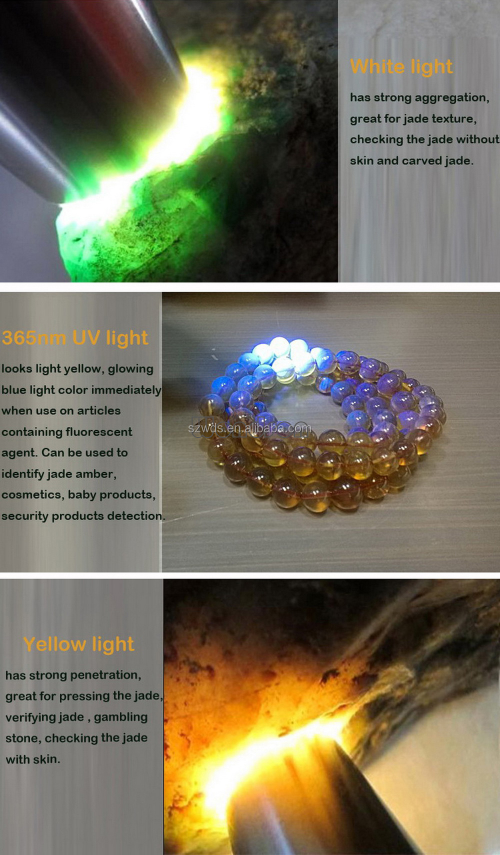 Jewelry Gemstone Appraisal Light Jade Flashlight 4 Light Sources LED Flashlight