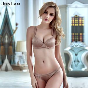 bf9256fa4615e Women High Quality Sexy Silk Lingerie Deep V Gathered Bra Brief Sets Sexy Bra  Panties Sets