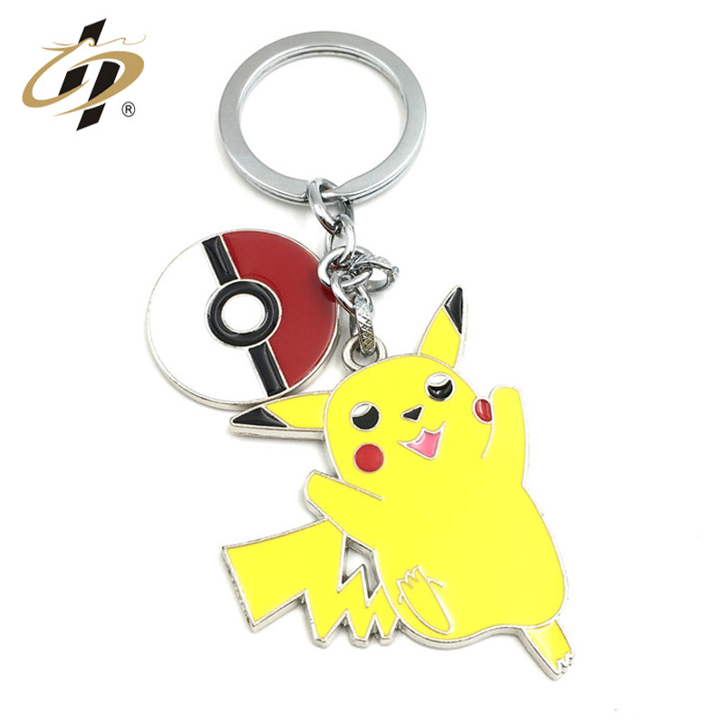Wholesale cheap custom metal pokemon key ring souvenir keychain with epoxy