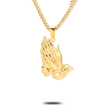 High polish buffing gold franco chain praying hand pendant necklace
