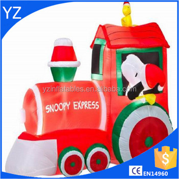 airblown train with snoopy and woodstock scene