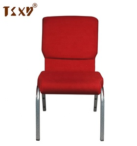"2019 China factory 19"" stackable cheap church chairs padded supplies"