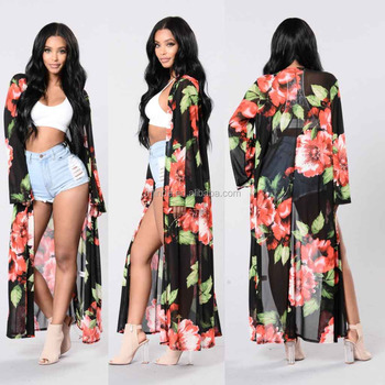 Kimono Duster Cardigan Top Open Front Bell Sleeves Floral Printed Mesh Duster For Women