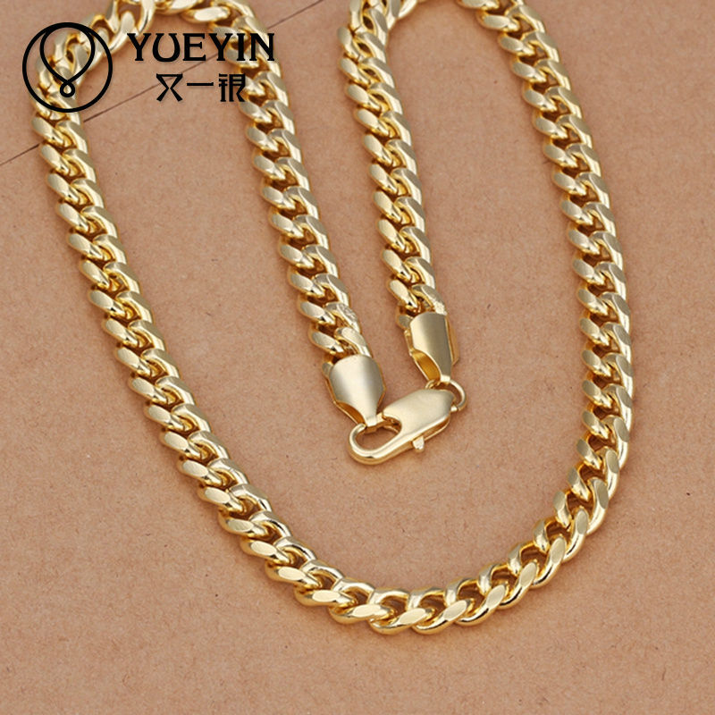 yellow chain mens cuban dp gold com amazon real hollow miami link icedtime chains