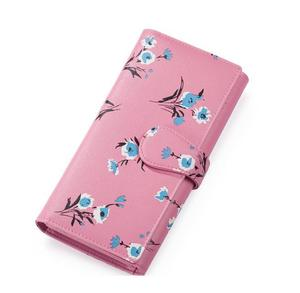 Flower printed Cute Girls Long Pink Purses Candy Colour Leather Wallet with Snap Closure