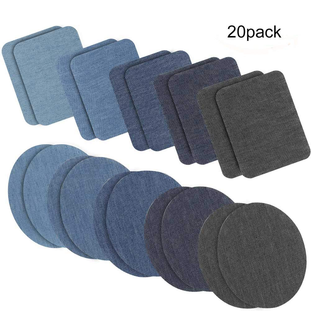 Iron on Patches Jacket Jean Clothes Denim Patches Iron-on Repair Patches Kit by eMgioo, 20 Pieces, 5 Colors