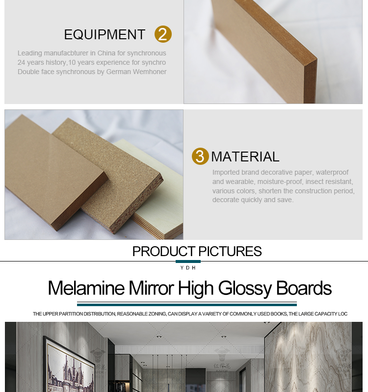 High gloss 18mm 12mm laminate furniture acrylic mdf boards in china