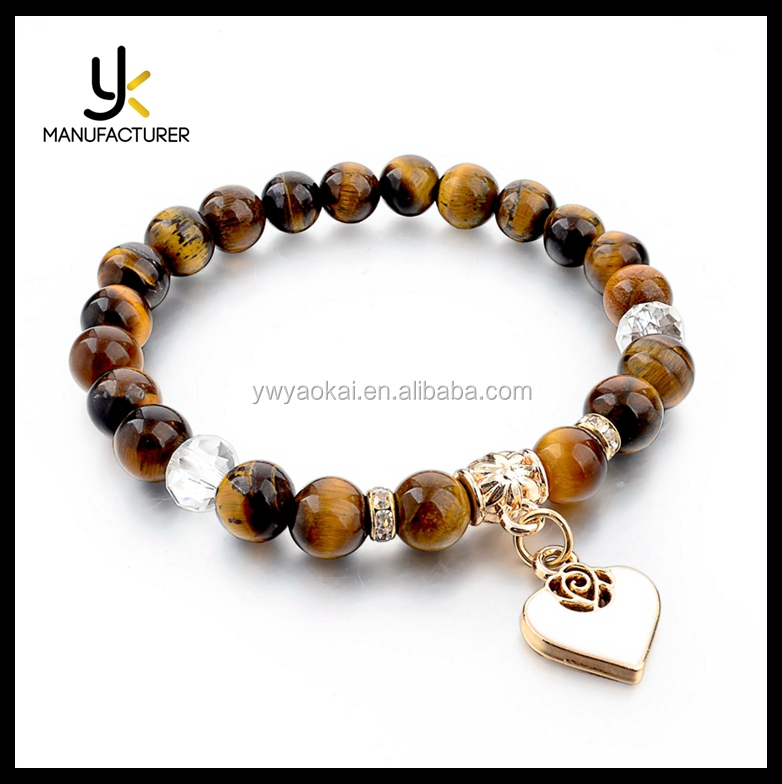 2017 New Design Accessoires Natural Stone Tiger Eye Bead Jewelry For Women Gold Color Heart Charm Bracelet