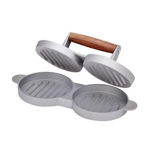 China Suppliers Aluminum Material Double Hole Burger Pressure Hamburger Presser With Wooden Handle