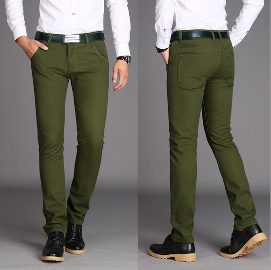 Green and Olive Pants Inspiration. Olive green is one of the colors of this Fall season. It's a great color to buy if you are looking for some new chinos. Try this seasonal color out by pairing with more earthy tones (brown, rust) or darker colors (navy) to help tame it for the fall season.