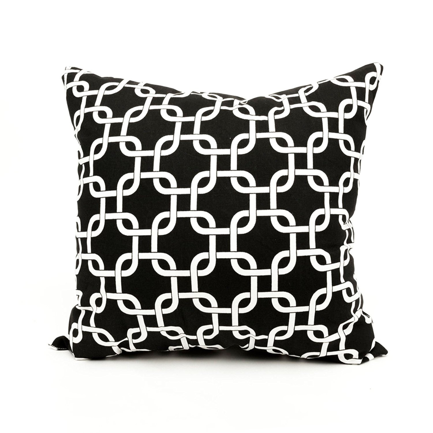 "Majestic Home Goods Black Links Indoor / Outdoor Large Pillow 20"" L x 8"" W x 20"" H"