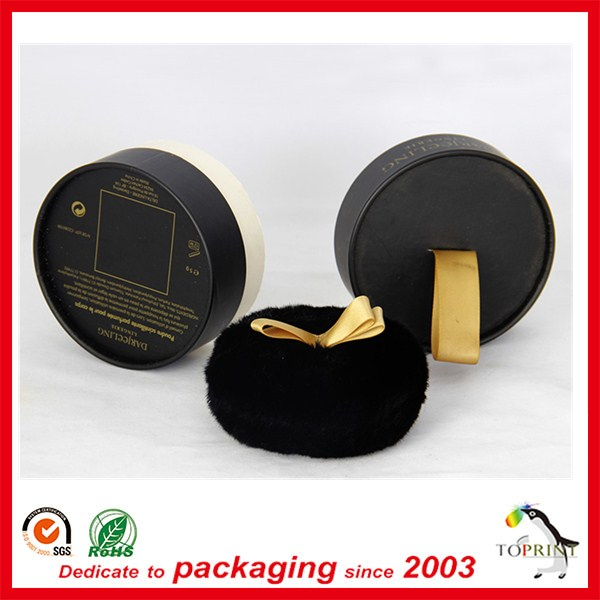 2014 top quality fashionable design round luxury paper box gift packaging tube satin on lid for make up packaging rolled adge