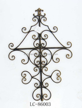 Antique Cross Wrought Iron Black And Gold Wall Decoration Buy Wall