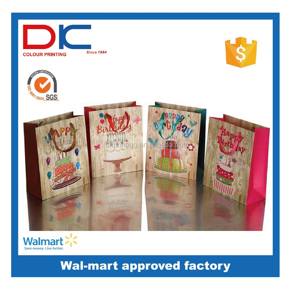 New designs 3D design promotional reusable foldable Birthday Gift paper bag
